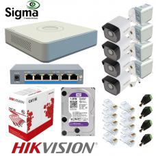 Комплект відеоспостереження IP з PoE на 4 вуличні камери 2 Мп Hikvision