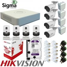 Комплект відеоспостереження IP з PoE на 4 вуличні та 4 внутрішні камери зі звуком 4 Мп Hikvision